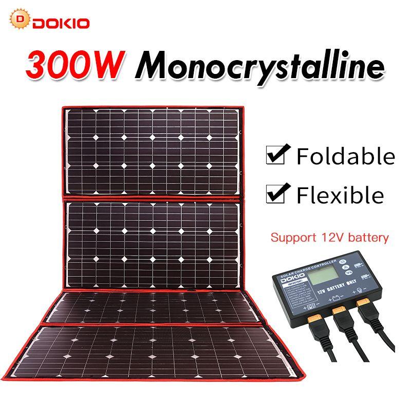 Dokio 300W 12V Flexible Solar Panel Tragbare Outdoor Faltbare Solar Panel Für Camping/Boot/RV/ reise/Home/Auto Solar panel kits