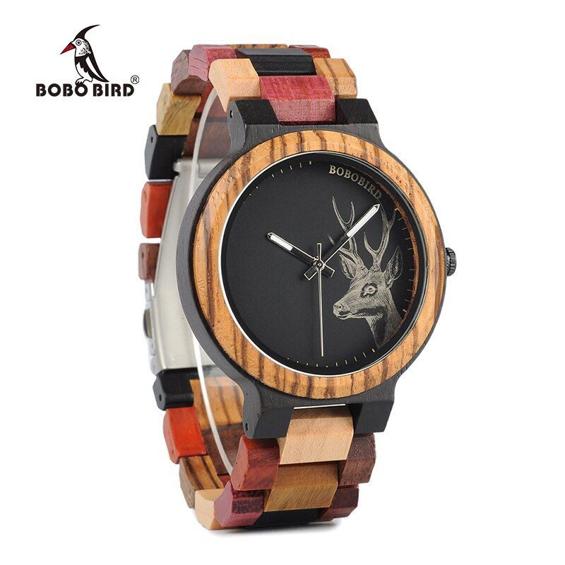 BOBO BIRD New Arrivals Bamboo Wooden Watches Men Elk Wrist Watch Deer Quartz Clock male Gift in Wood Box