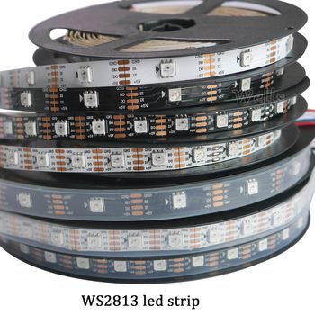 Nouveau 1 m/5 m WS2813 Smart led pixel bande, Noir/Blanc PCB, 30/60 leds/m WS2813 IC; mieux que WS2812B bande, IP30/IP67 DC5V