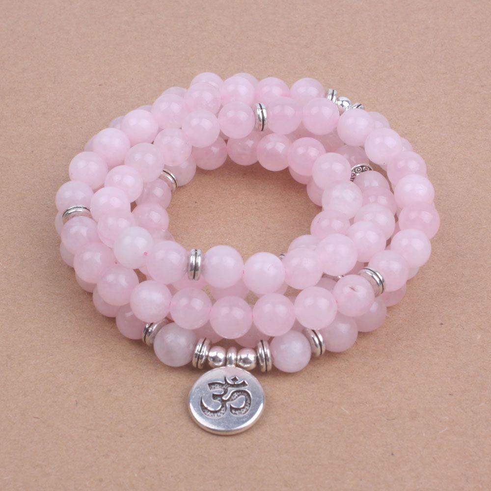 108 mala perles avec Lotus OM Bouddha Charme bracelet pour les femmes Rose pierre Naturelle bracelet yogi bijoux dropshipping