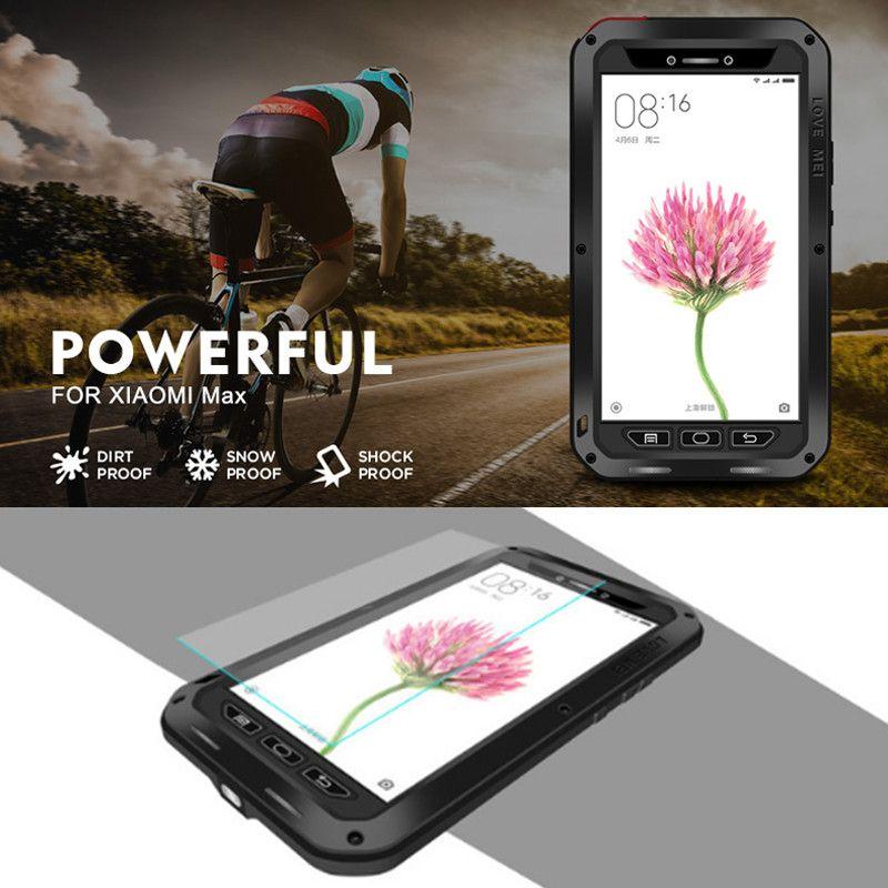 Amour origine Mei Pour Xiaomi Mi Max Cas Aluminium Blindé étanche Couverture Fundas 6.44 Métal Antichoc Cas Pour Xiaomi Mi Max