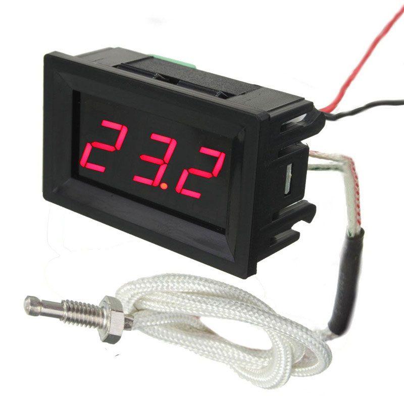 Livraison gratuite LED DC12V thermomètre à Thermocouple numérique 12 V compteur de température 0 ~ 999 Celcius avec sonde
