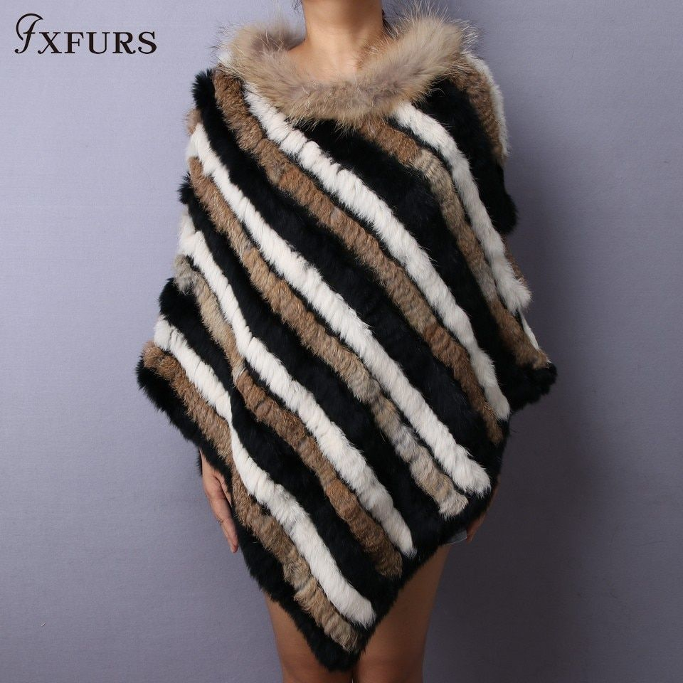 FXFURS 2017 Knitted Rabbit Fur Shawl Women Fashion Triangle Fur Poncho Striped Patchwork Scarf with Raccoon Fur Stripes Collars