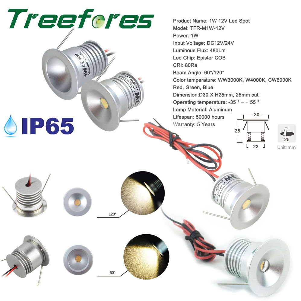 50PCS Recessed 1W IP65 12V DC Outdoor Led Downlight for Cabinet and Stair Lighting Lamp 15mm/25mm Mini Spot