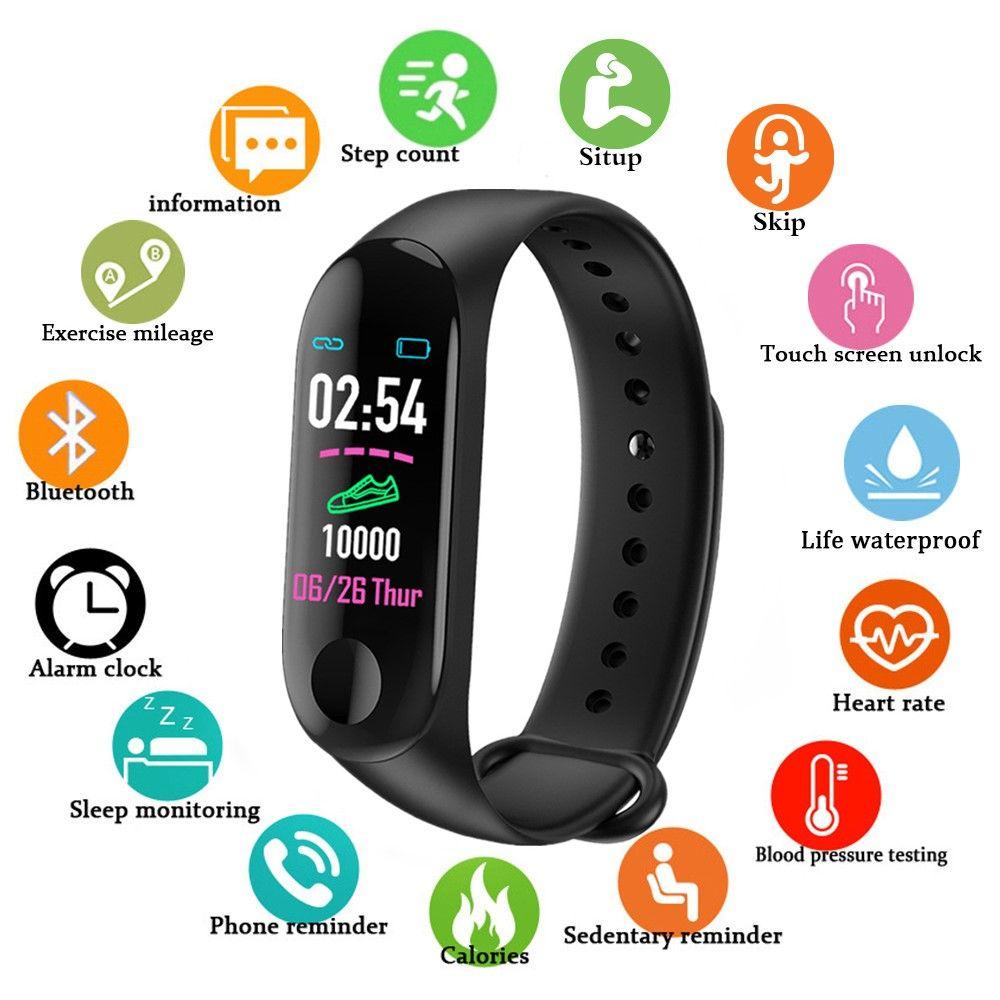Sport Smart Band Bracelet M3 Blood Pressure Monitor Waterproof Smart Wristbands Smartband fitness Tracker watch PK mi band 3 4