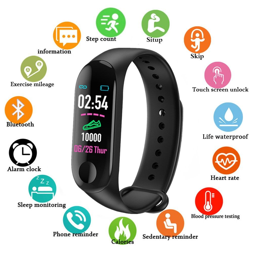 Sport Smart watch smart Band Bracelet M3 Blood Pressure Monitor Waterproof Smart Wristbands Smartband fitness Tracker watch