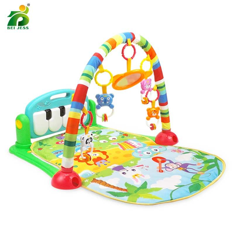 BEI JESS Baby 3 in 1 Gym Play Mat Puzzle Educational Crawl Carpet Piano Keyboard Projection Rattle Develop For Children Mat