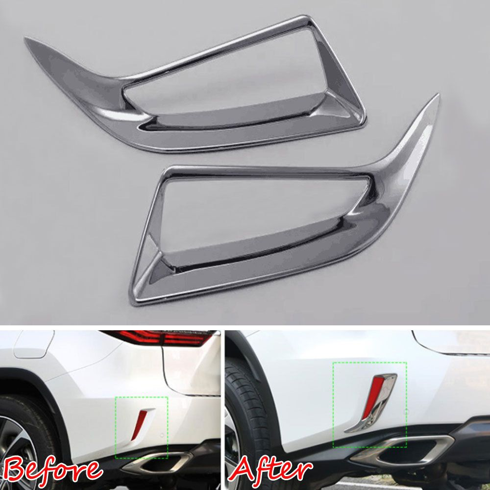 Chrome ABS Car Rear Bumper Fog Light Cover Trims for 2016 2017 2018 Lexus RX350 RX450h RX200t Chromium Styling
