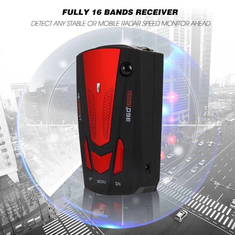 Neue Auto Radarwarner 16 Band Akustischer alarm V7 Anti-radar-detektor Led-anzeige 360 Grad Car Geschwindigkeit Testing System