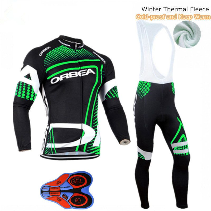 Orbea Black Green Fleece Men's Cycling Jersey Set Bicycle Winter Cycling Clothing Bike Wear Maillot Ropa Ciclismo Invierno Suit