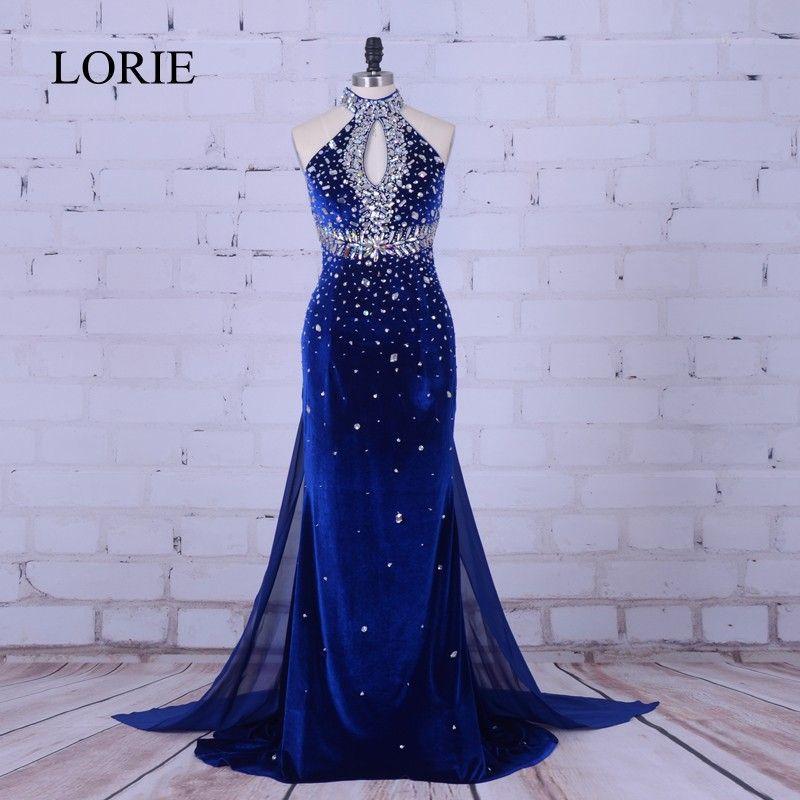 Luxus Meerjungfrau Abendkleid 2018 Royal Blau Samt Lange Prom Kleider High Neck Kristall Perlen Formelle Kleid Frauen Hochzeit Party