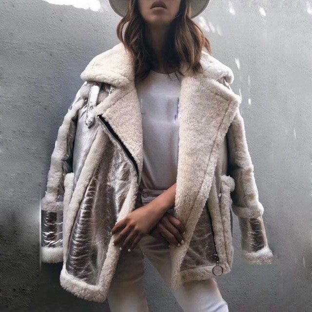 2018 new women genuine leather and fur duck down coat silver color female luxury loose zip turn down collar thick outwear jacket