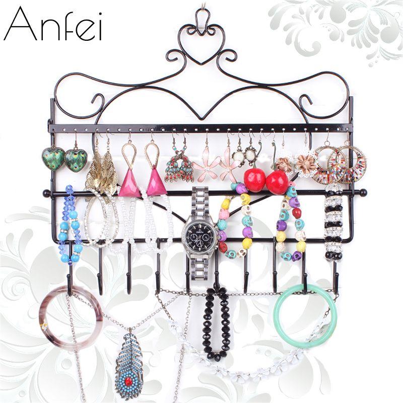 Mur de fer monté cadre boucles d'oreilles collier titulaire stud accessoires bijoux de support de stockage plaid présentoir A151-2