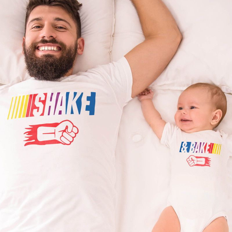 New Funny Baby Boy Father and Son Romper Bodysuit T shirt Outfits Clothing Set Punch Fist BAKE