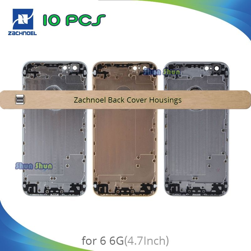 10pcs AAA Quality Housing for iPhone 6G 6 Plus Back Battery Cover Rear Door Case Middle Chassis Black Replacement Repair Parts