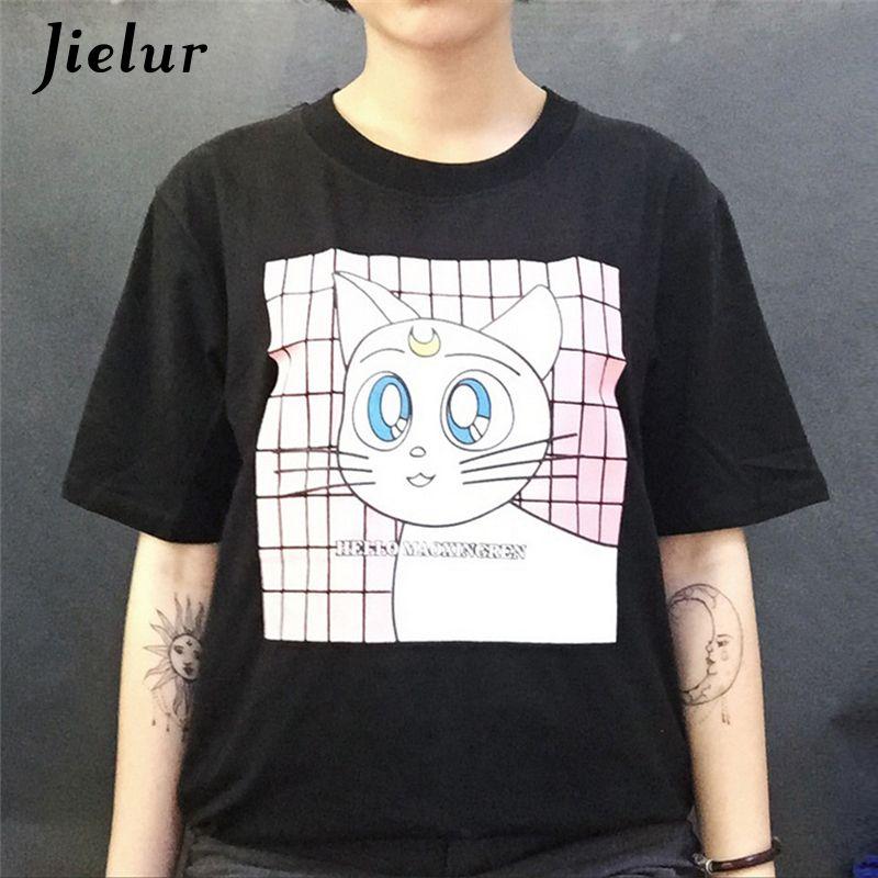 Harajuku Fashion Style Kawaii Cartoon Cat Printed Female T-shirt Short Sleeve Women Tops Leisure Summer Best Friends T shirt XL