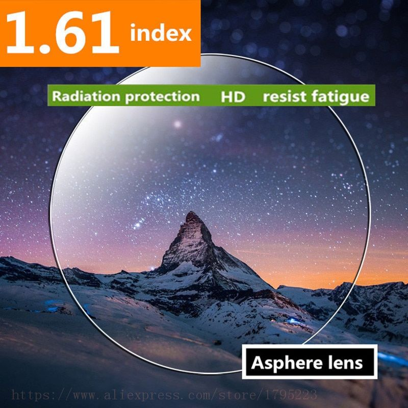 1.61 Index Prescription Lenses CR-39 Resin Aspheric Glasses Lenses for Myopia/Hyperopia/Presbyopia Extra Thin With Coating 2PC