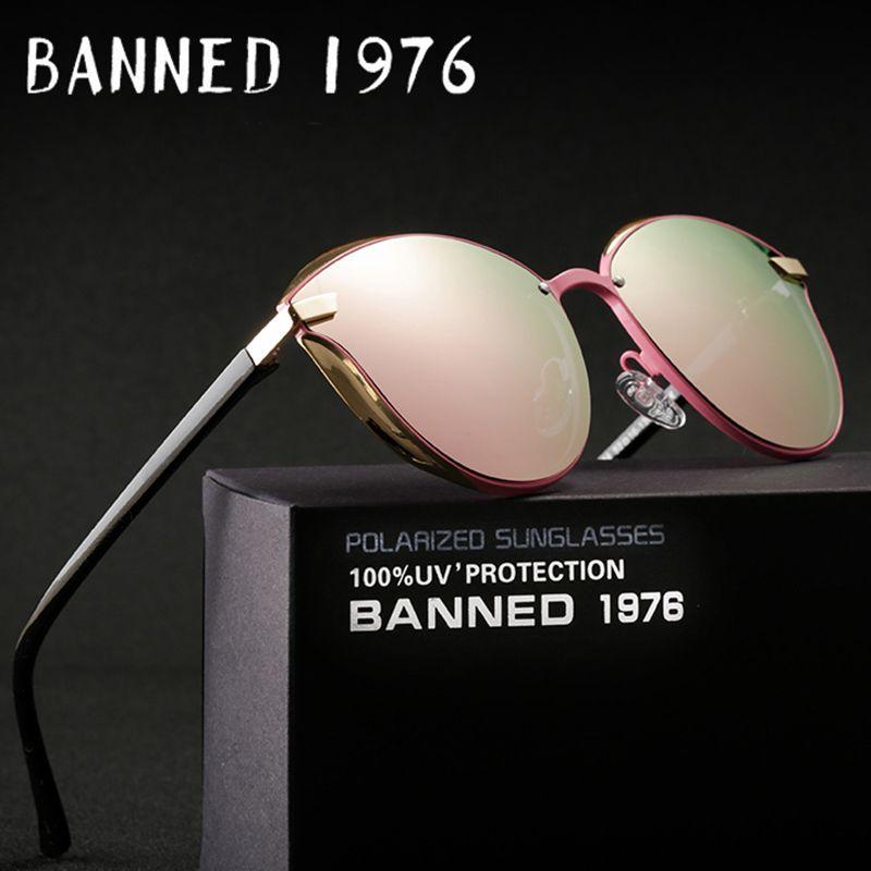 BANNED 1976 Luxury Women Sunglasses Fashion Round Ladies Vintage <font><b>Retro</b></font> Brand Designer Oversized Female Sun Glasses oculos gafas