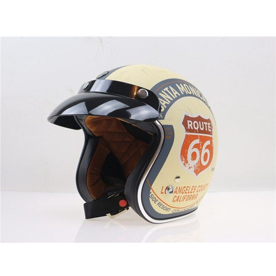 Free shipping 1pcs Route 66 Retro Motorcycle Helmet Harley 3/4 Open Face Vintage Pilot Motorcycle Helmets