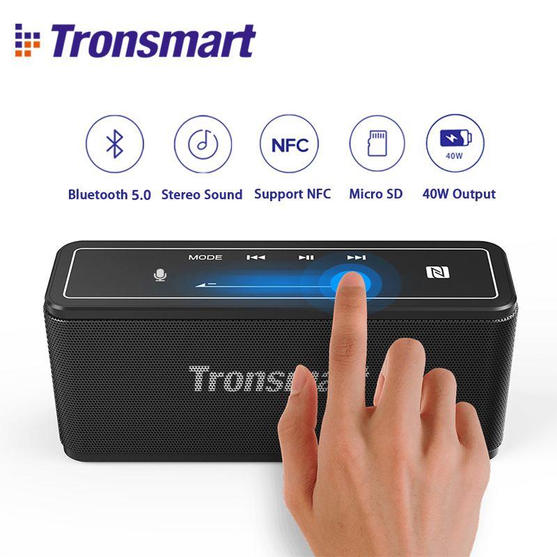 Tronsmart Mega Bluetooth 5.0 haut-parleur Portable haut-parleur 40 W Colums contrôle tactile barre de son support Assistant vocal, NFC, TWS, MicroSD