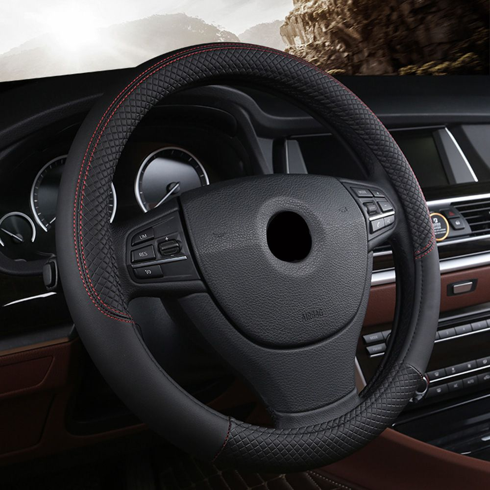 Car steering-<font><b>wheel</b></font> 38cm Leather Hand-stitched PU leather Dermay Car Steering <font><b>Wheel</b></font> Cover Fit For Most Cars Styling