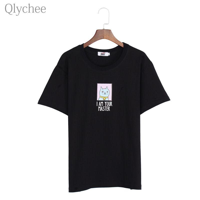 Qlychee Harajuku Femmes T-shirt Chat Impression T-shirt Je SUIS VOTRE MAÎTRE Lettre Imprimer Manches Courtes Lâche Femelle Tee Top