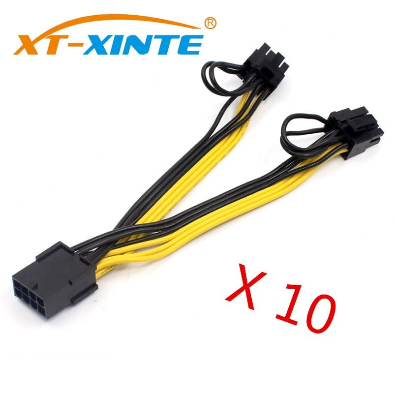 10pcs/lot PCI-E PCIE 8p Female to 2 Port Dual 8pin 6+2p Male GPU Graphics Video Card Power Cable Cord 18AWG Wire