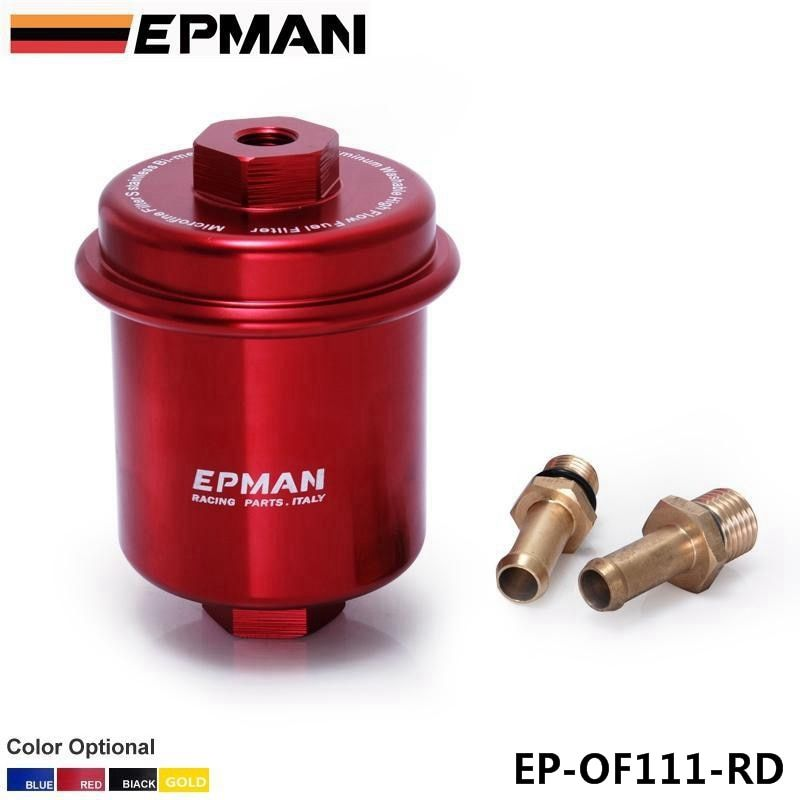 Epman Sport Anodized Red High Flow Turbo Fuel Filter JDM For Integra RS LS GSR B18 EP-OF111-RD