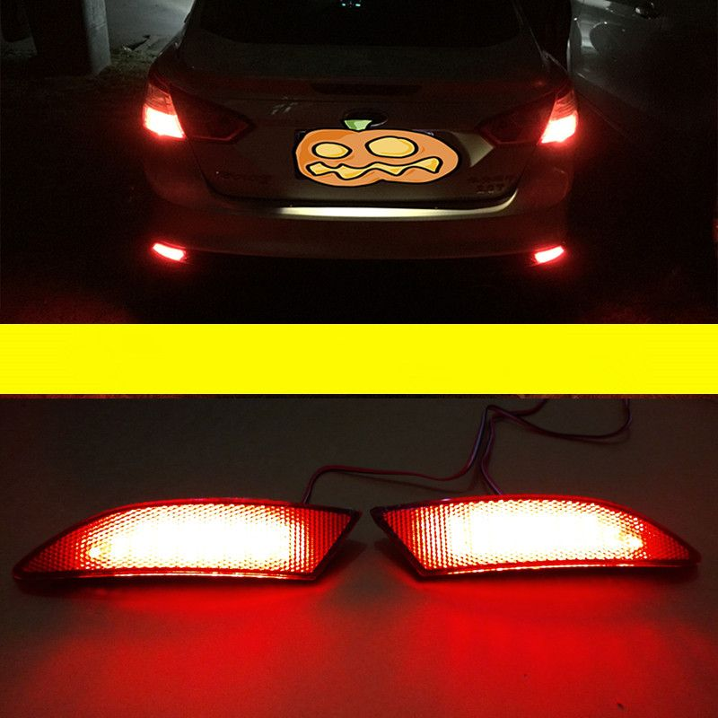 2PCS Waterproof Rear bumper reflector Car Light Source Bright LED Strip Red Tail Lighting Drl Special For Ford 2012 New Arrive