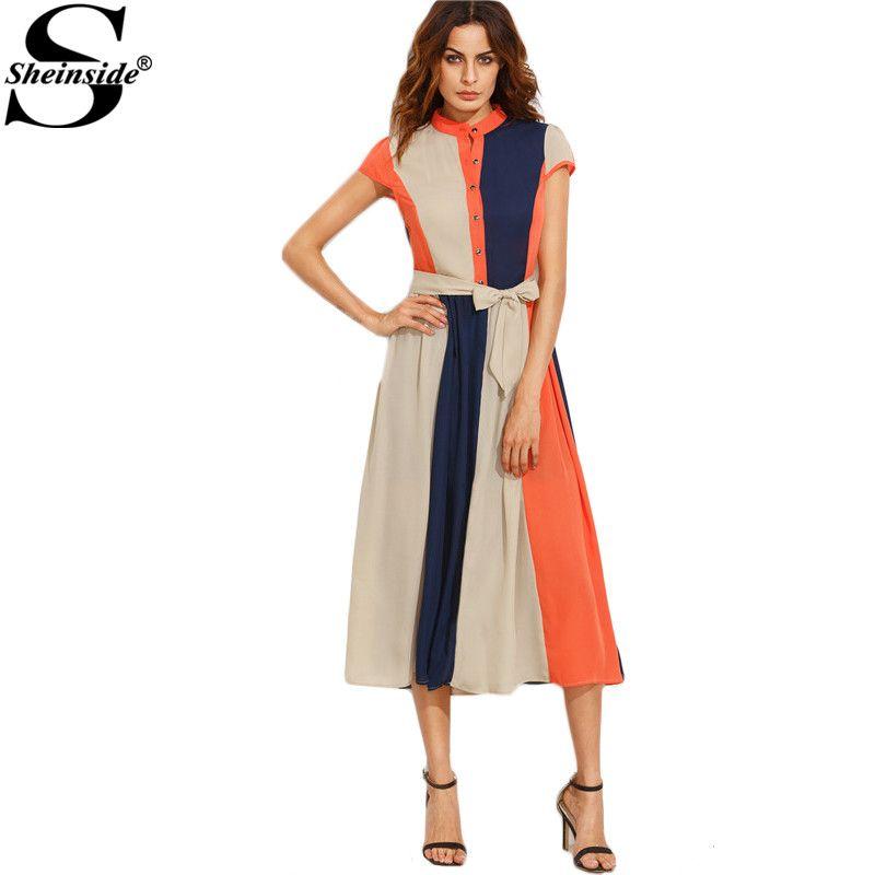 Sheinside Color Block Women Dress 2017 Bow Tie Waist <font><b>Buttons</b></font> Midi Dress Office Ladies Stand Collar Short Sleeve A Line Dress