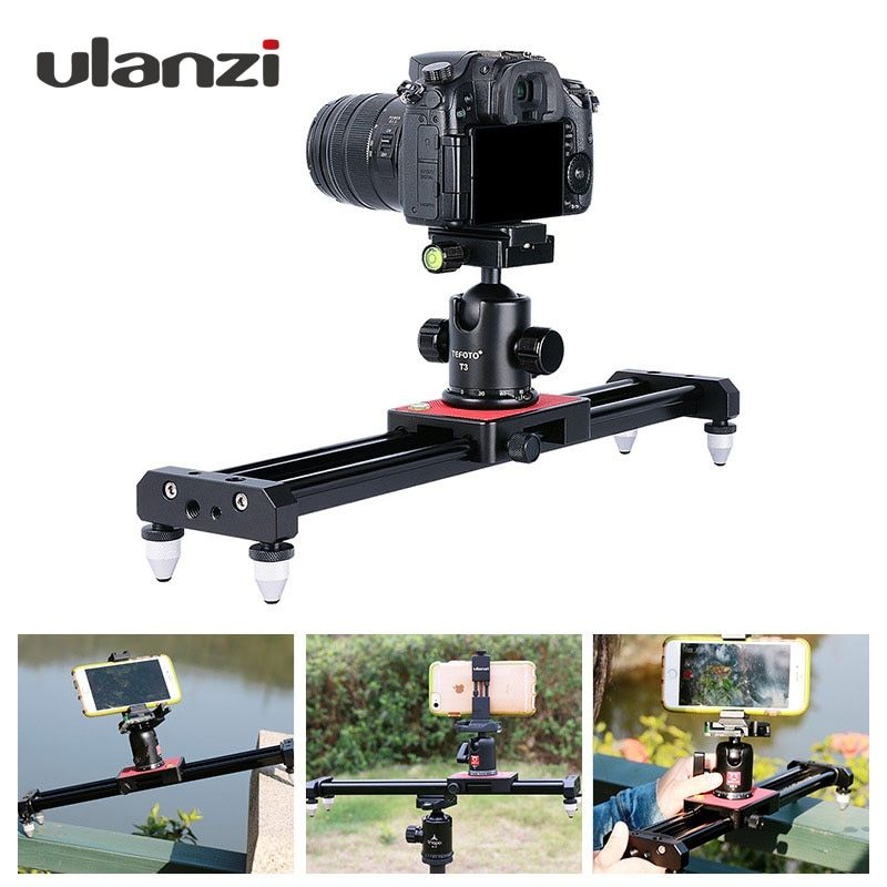 Ulanzi 40cm/15in Mini Aluminum Camera Video Track dolly Slider Rail System for <font><b>Nikon</b></font> Canon DSLR camera DV Movie Vlogging Gear