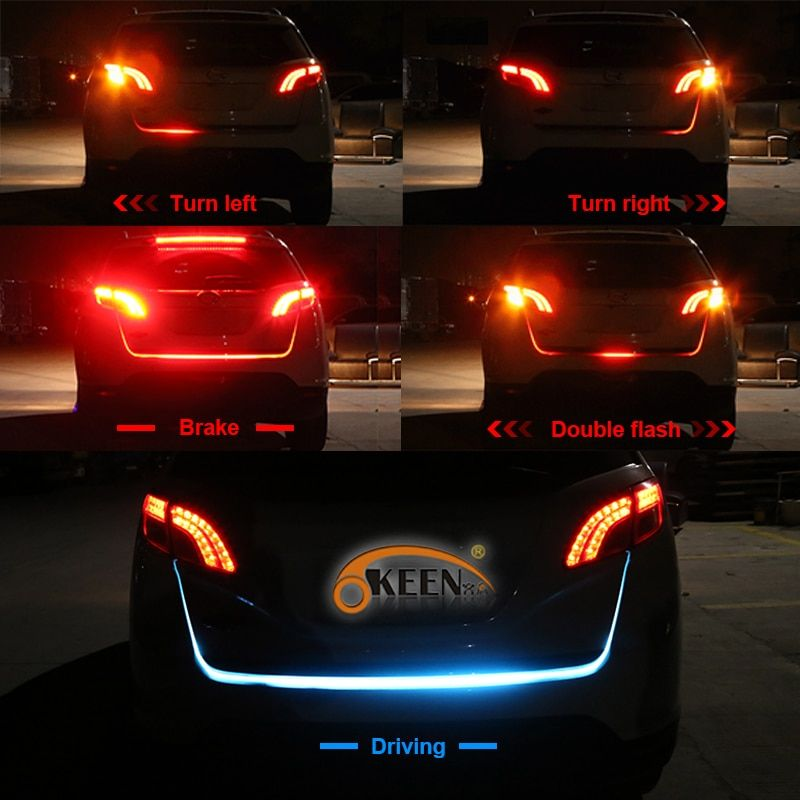 OKEEN LED trunk light Strip Red Turn Signals <font><b>flowing</b></font> led Rear lights Car Braking light For BMW car-styling Daytime Running Light