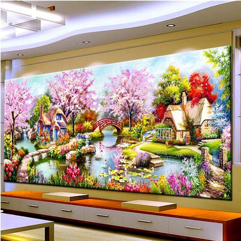 2018 New DIY Landscape Diamond Painting Garden Cottages <font><b>Lodge</b></font> Full Square/Round Diamonds Embroidery For Living Room Home Decor