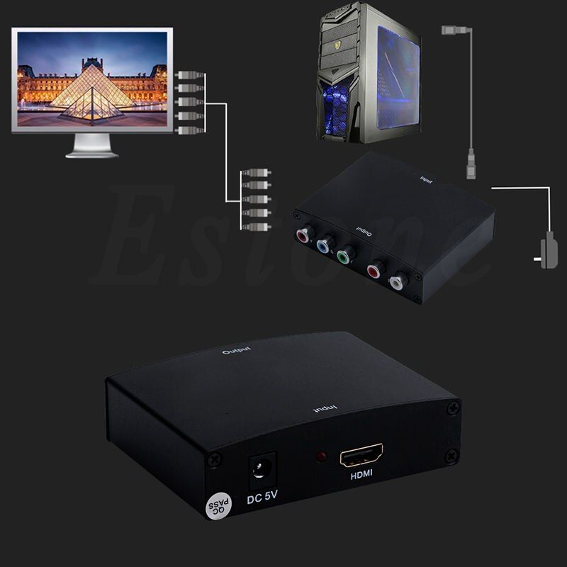 US Plug 1080P Best to RGB Component (YPbPr) Video+R/L HDTV  Audio Adapter Converter HD TV OE 5V DC Power Supply