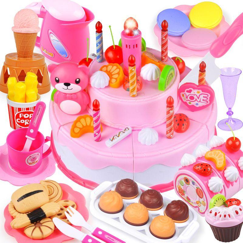 37-80 pcs DIY Fruits De Coupe Jouer à Faire Semblant Gâteau D'anniversaire Filles Cuisine Alimentaire Jouets Cocina De Juguete Rose Bleu jouet Cadeaux Pour Les Enfants