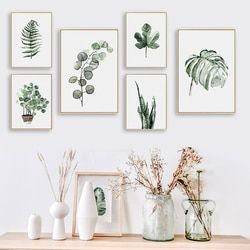 BIANCHE MUR Aquarelle Feuilles Des Plantes Affiche Imprimer Paysage Mur Art Toile Peinture Image pour La Maison Décoration Vert Décor