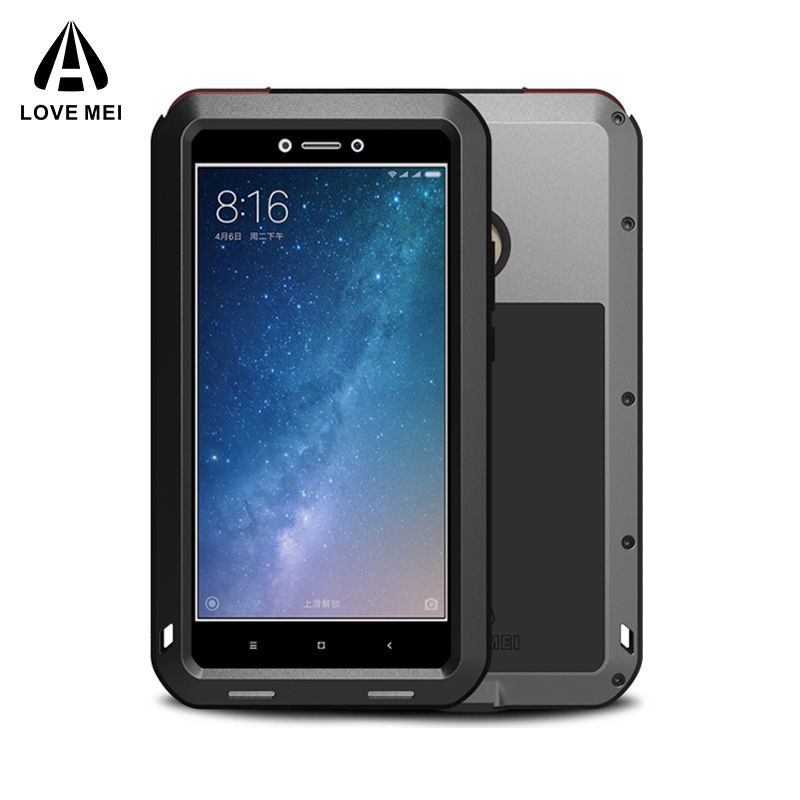 LOVE MEI Aluminum Metal Case For Xiaomi Mi Max 2 Cover Armor Shockproof Waterproof Case For Xiaomi Mi Max2 Coque + Gorilla Glass