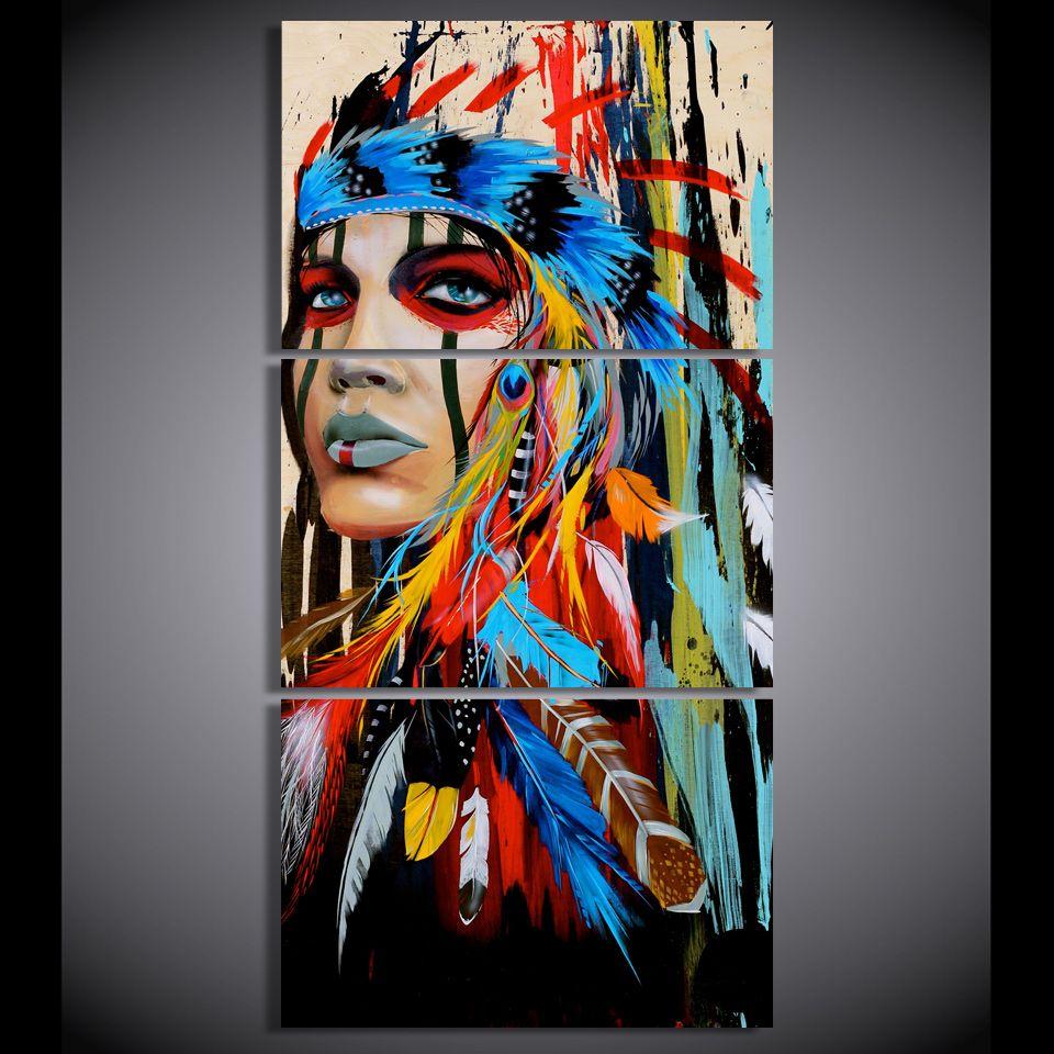 HD imprimé 3 pièce toile art native American Indian avec plume Peinture mur photo pour salon Livraison gratuite/NY-5786