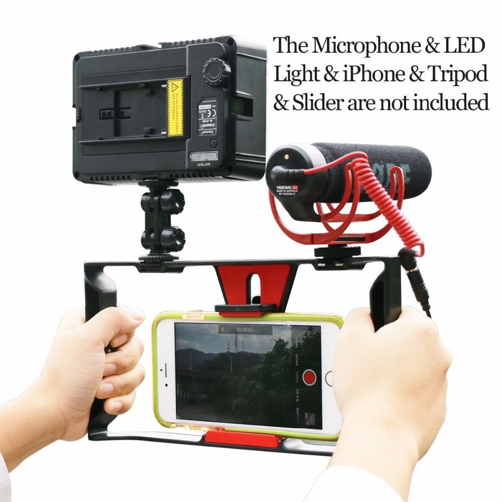 <font><b>Ulanzi</b></font> Handheld Video Rig Stabilizer for Live streaming / Vlogger/ Youtube with 96 Led Video Light & Rode VideoMicro microphone