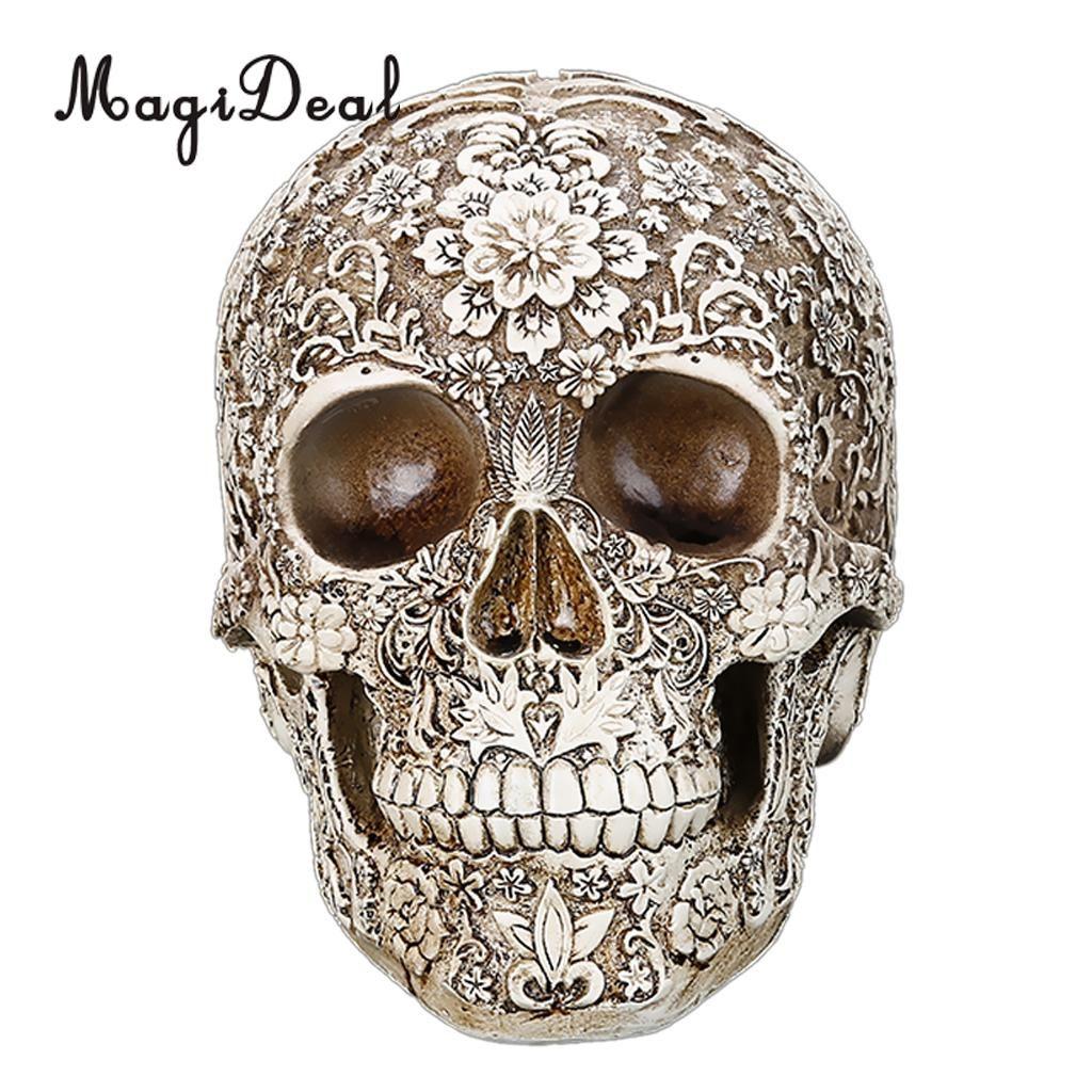 MagiDeal Lifesize Replica Carving Model Skull Figurine Human Head Medical Skeleton -Creative Home Decor Gift