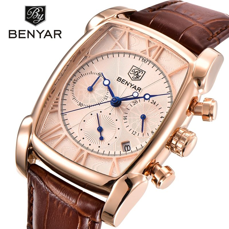 BENYAR Luxury Brand Watches Men Military Sports Leather Quartz Watch Reloj Hombre Chronograph Waterproof Relogio Masculino
