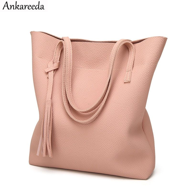 Ankareeda Women's Soft <font><b>Leather</b></font> Handbag High Quality Women Shoulder Bag Luxury Brand Tassel Bucket Bag Fashion Women's Handbags