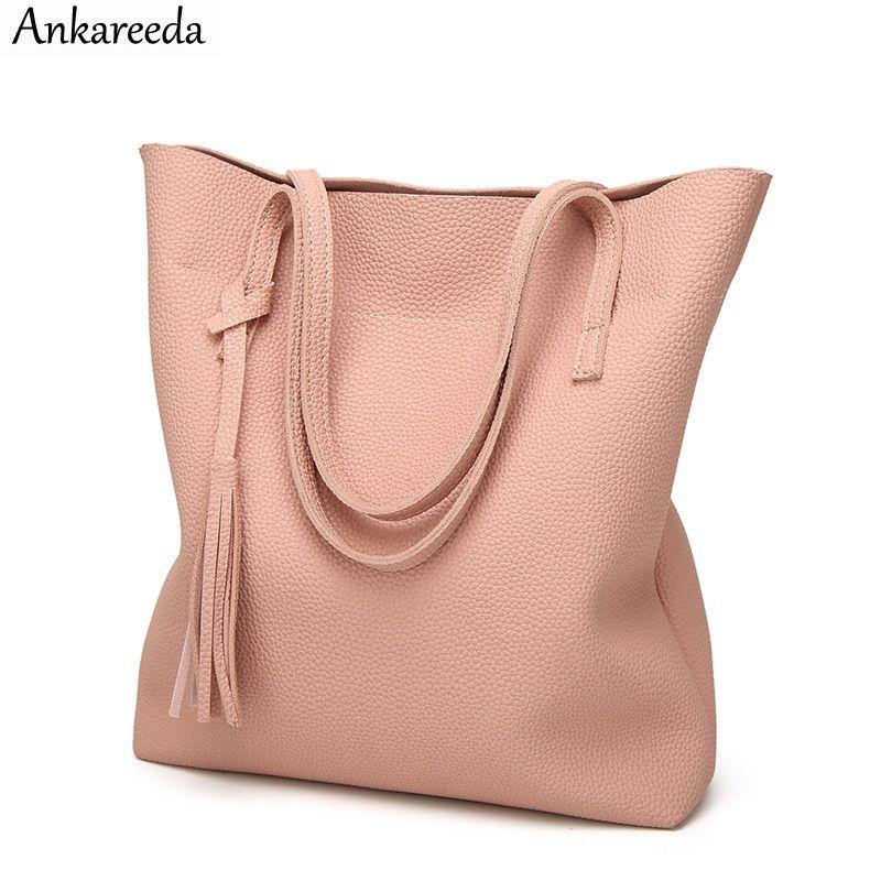 Ankareeda sac à main femme en cuir souple haute qualité sac à bandoulière femme de luxe marque gland sac seau mode sacs à main femme