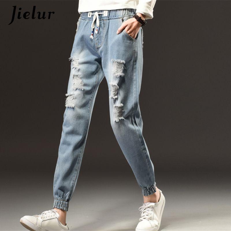 Printemps Mode Cool Jeans Déchirés Femme Plus La Taille S-5XL Lâche Trous Élastique Taille Jeans Femmes Hiver Harajuku Loisirs Fille Pantalon