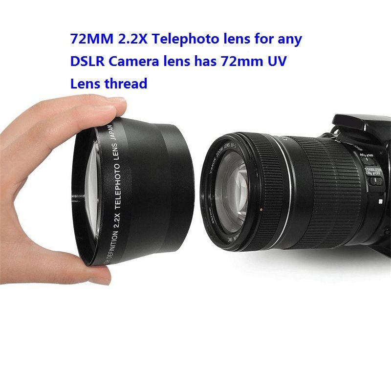 Téléobjectif professionnel HD 72mm 2.2x + sac d'objectif pour Canon Nikon Pentax Olympus tout reflex numérique avec filetage d'objectif de taille de filtre 72mm