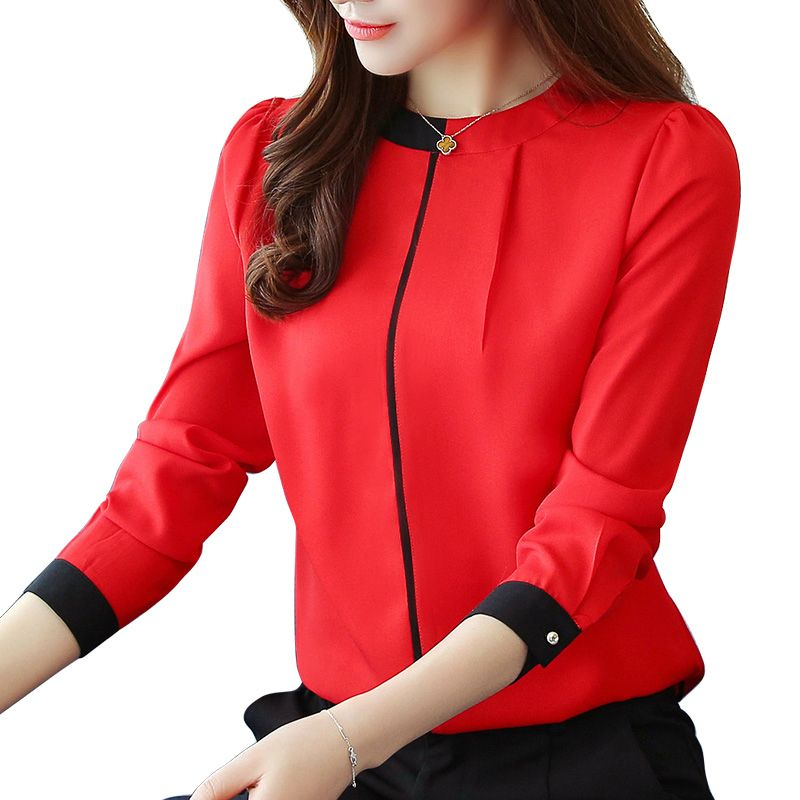 chiffon women Blouse Shirt 2019 Long Sleeve red women's clothing Office Lady blouse Women's Tops Ladies' shirt Blusas A91 30