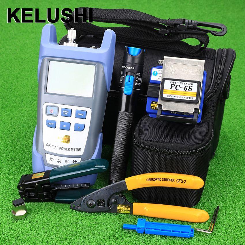 KELUSHI Kit Fiber Optique FTTH Outil avec FC-6S Fendoir De Fiber et Optique Power Meter 5 km Localisateur Visuel de défauts 1 mw Fil stripper