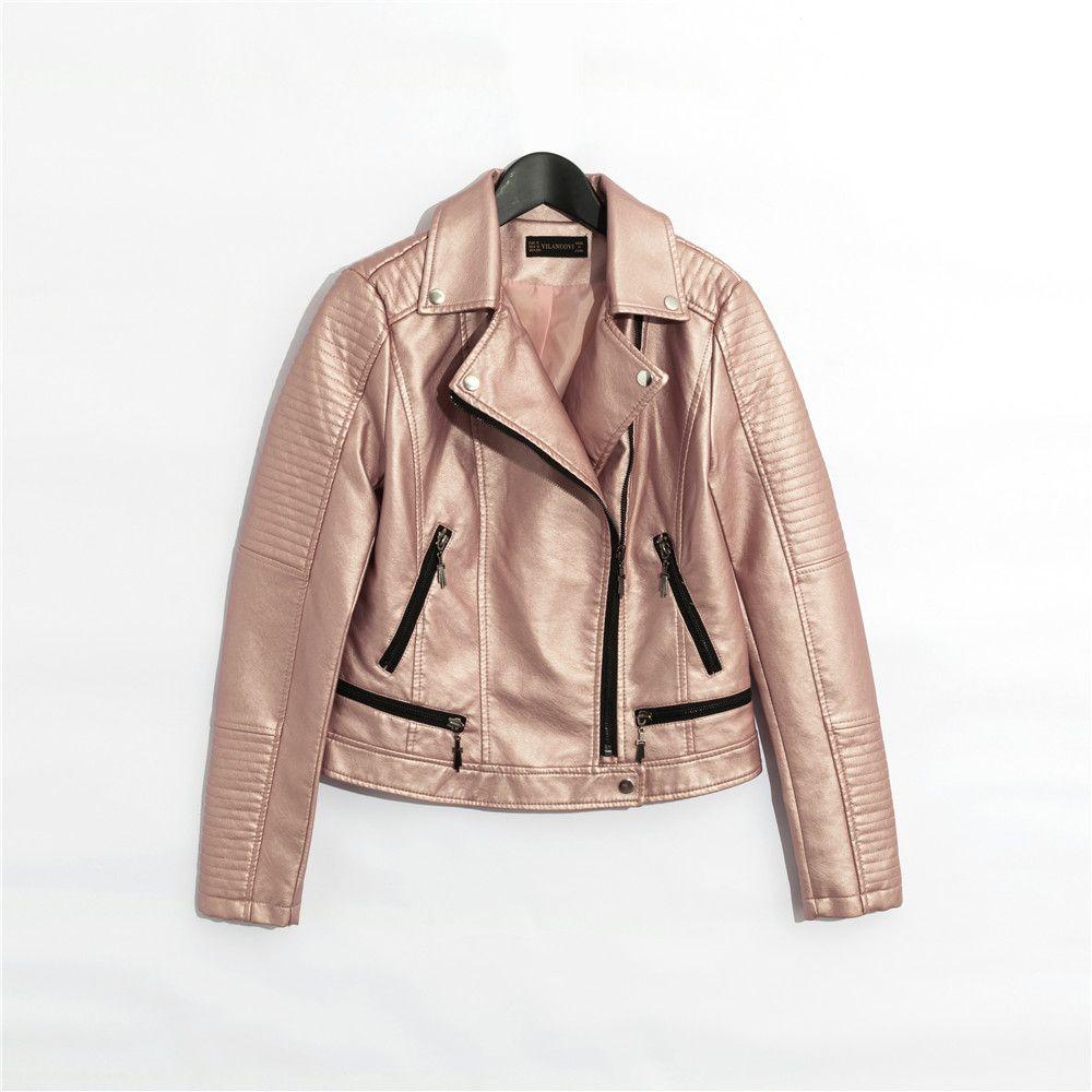 2018 frauen faux leder jacke beiläufige Kurze mantel langarm volle futter Rosa schwarz blau silber 4 farbe SML zipper drop verschiffen