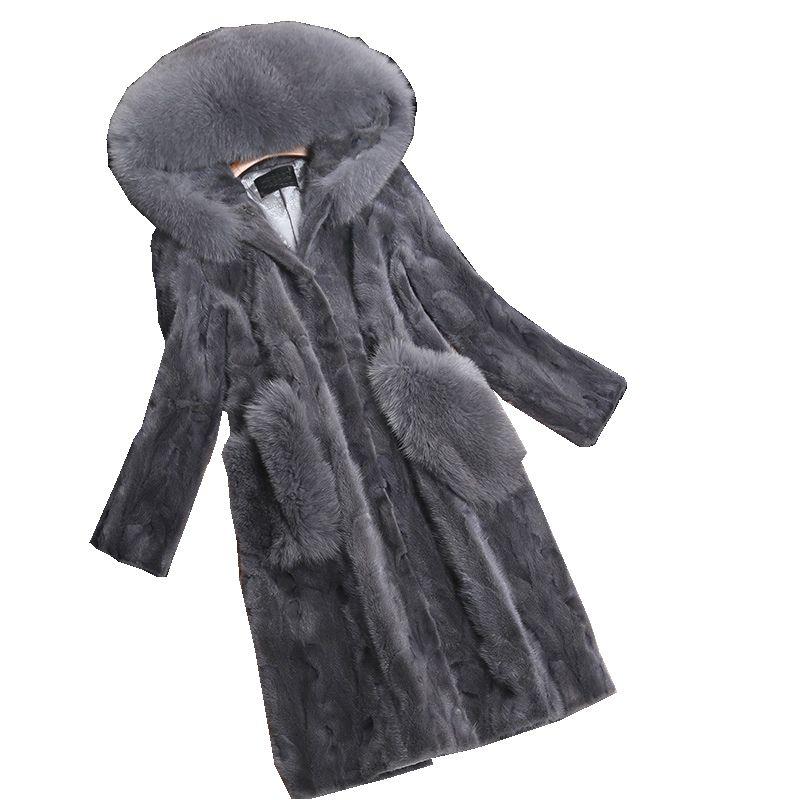 Luxus Echtes Stück Nerzpelzmantel Jacke Fuchspelz Hoody herbst Winter Frauen Fell Warme Oberbekleidung Mäntel Kleidungsstück 3XL 4XL LF4225