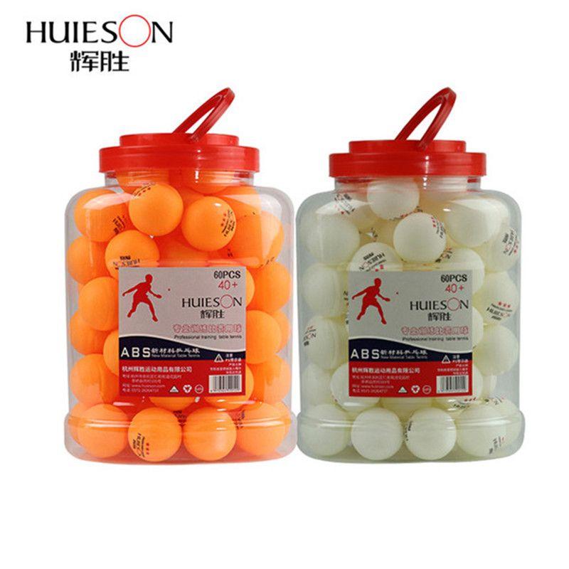 Huieson 60 pcs/baril Professionnel 3 Star Tennis De Table Boules 40 + mm 2.8g ABS En Plastique Ping-Pong balle Jaune Blanc pour la Formation Du Club